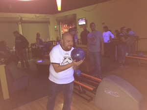 Here is Jason about to bowl!